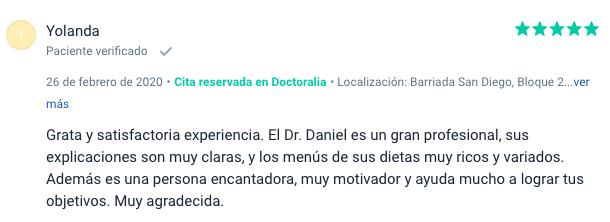 Opinión sobre Daniel Mantas Doctor